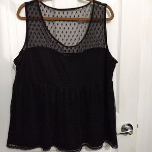 Torrid black sheer dot dressy sleeveless top